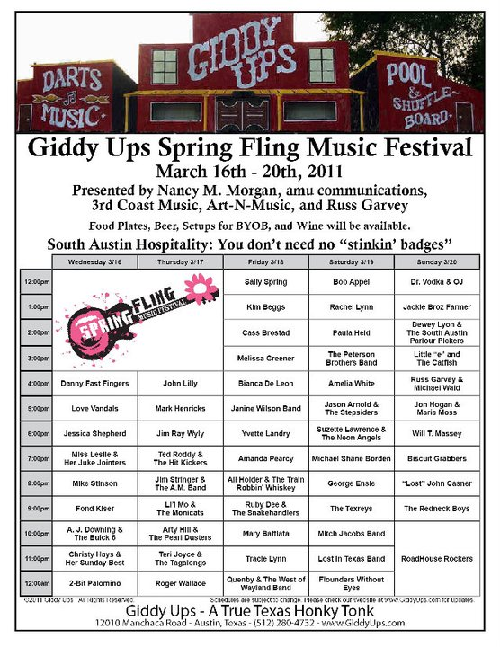 Schedule for the 2011 Giddy Ups Spring Fling