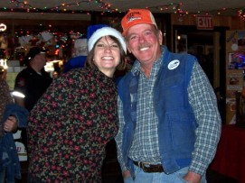 Here's Janice Williams from KVET and our very own Roy of the 'Ted & Roy Open Mic Nite' at Giddy Ups. No one gets any tips on open mic night because anything that's collected gets donated to Blue Santa to help make sure every child has a very Merry Christmas.