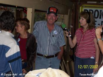 This is KVET's Michelle interviewing Roy. He and Ted host an open mic night every Thursday at Giddy Ups and all the tips go are saved during the year and given to Blue Santa. This year, they raised $1,500!! Way to go guys! And, thanks to Nancy (Giddy Ups owner) for supporting them!