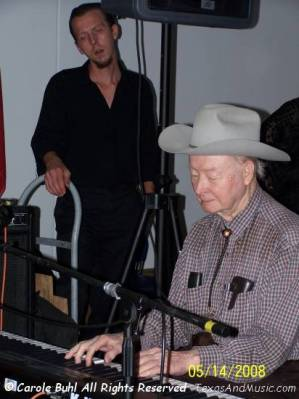 "Skeeter Elkins played with Bob Wills and the Playboys. I love the way T is engrossed in Skeeter's playing. Oh yeah......Skeeter's the ""baby"" of the bunch. After all, he's only 84!"