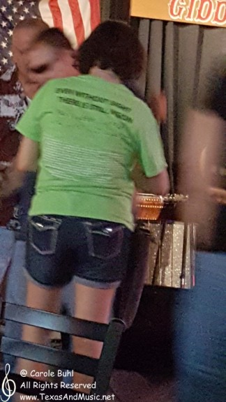 "I couldn't get a good picture of this gal's shirt but I sure got her message. They were a blind couple. Her shirt reads, ""Even without sight, there is vision"". Love it!"